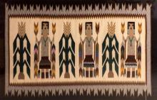 Native American, Navajo Hand Woven Wool Ye-bichai Rug or Textile, Ca, 1970's, #978