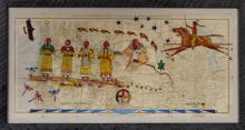 "Outstanding Ledger Painting by Merle Locke, Oglala Lakota Artist, ""Keepers of a Great Nation"" Ca 2015. #977"