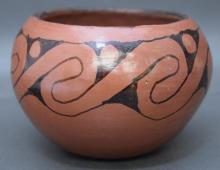 Native American Maricopa, 1960's Black on Red Design Bowl, Signed Ida Redbird. #971