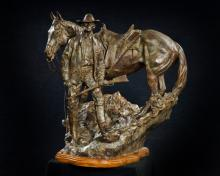Western Bronze Sculpture, by Renowned Western Artist Jeff Wolf, Entitled