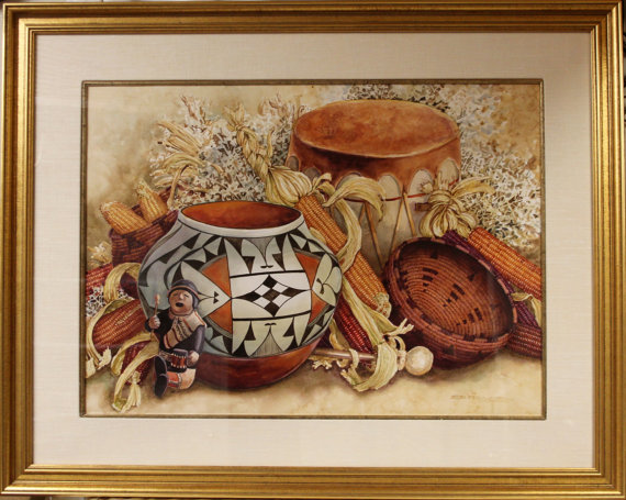 Western Artist, Lee Rommel *Silent Drum* Water color painting, Ca 1985, #961