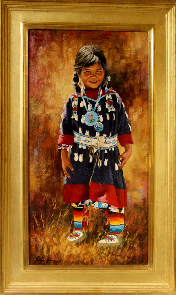 Celebrated Artist, Jim Schaeffing, Little Crow Beauty, Oil painting, Ca 1986, #963