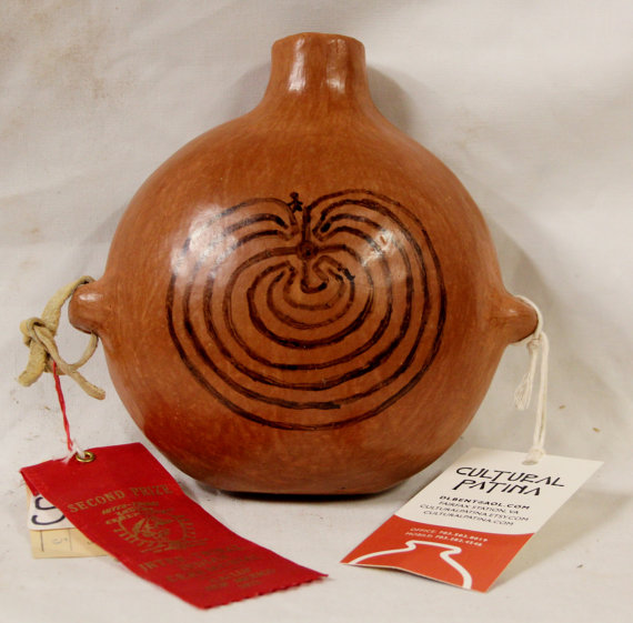 Award Winning, Native American Sally Havier, Tohono O'odham (Popago) Pottery I'itoi Design Canteen, Ca 1972, #946