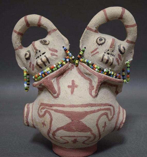 Maricopa Pottery Double Headed Effigy *Barbara Johnson, 1950's, #942