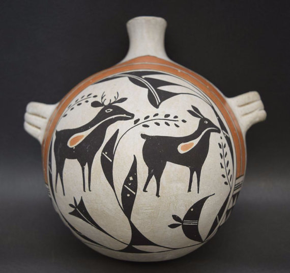 Acoma Pottery Canteen by Jessie Garcia, Ca 1970*s, #943