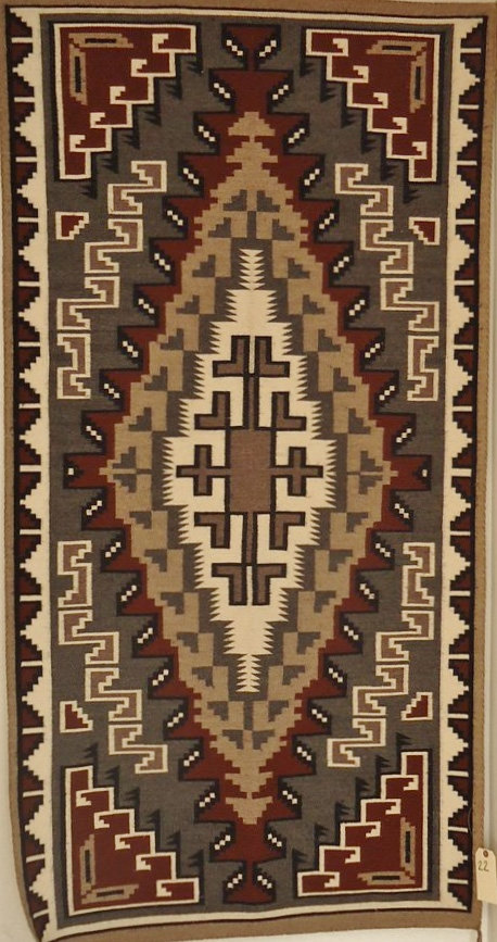 Native American Navajo Two Grey Hills weaving/rug, Circa 1930-50, #841