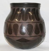 Native American Santo Domingo Black on Black Large Storage Jar by Raphaelita Aguilar, #807