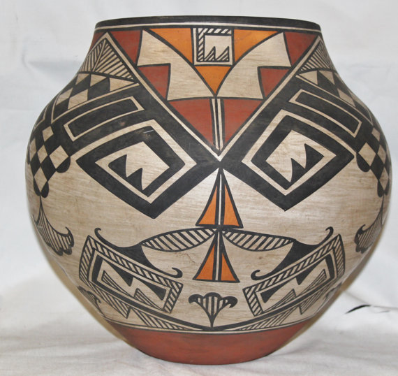 Native American Large Historic Acoma Polychrome Olla, Ca 1950's-60's, #805