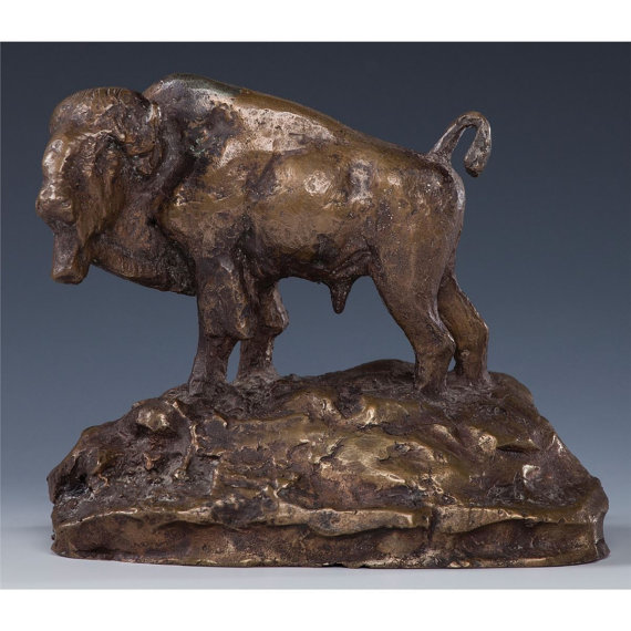 Charles Marion Russell, Limited Edition Bronze Buffalo Sculpture, Number 12 of 24 1960, #822