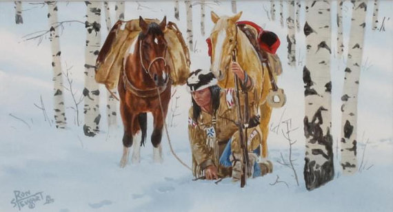 Western Artist, Ron Stewart (1941- )*Trail to Trouble* Water Color Painting, Mid 1970's, #811