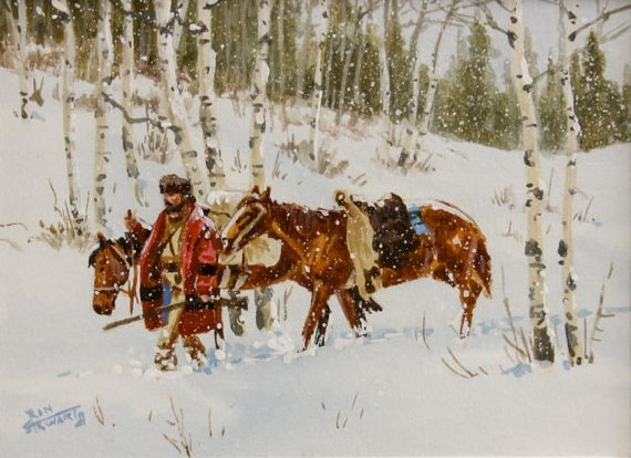 Western Artist Ron Stewart, Water Color Painting,