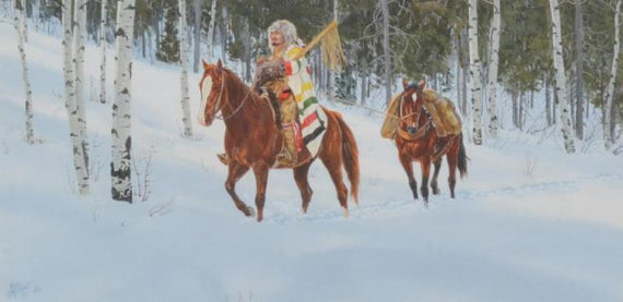 Western Artist, Ron Stewart *Looking for Game* Water Color Painting, c.1982, #839