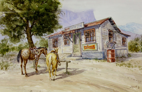 Western Art : Andrew Dagosta, Western Artist, Water Color Painting,