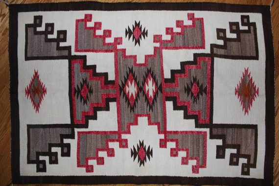 Old Navajo Crystal Rug with Double Storm Design
