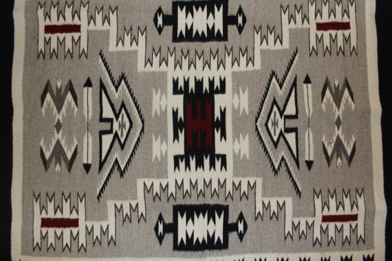 Southwest Rug : Extremely Fine Navajo Hand Woven Storm Pattern Rug by Juan Etsilty #141