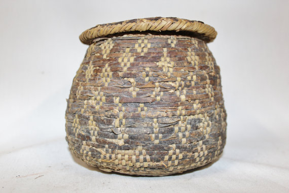 Vintage Basket : Vintage Rare Handmade Omani Bedouin Lidded Basket, Interlaced with Leather, Having a Lizard Skin Top and Bottom, #875