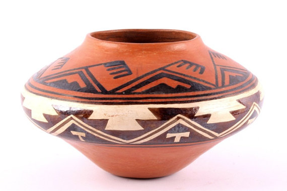 Native American Historic Zuni Poly-chrome Pottery Olla, Circa 1880-1890, #829