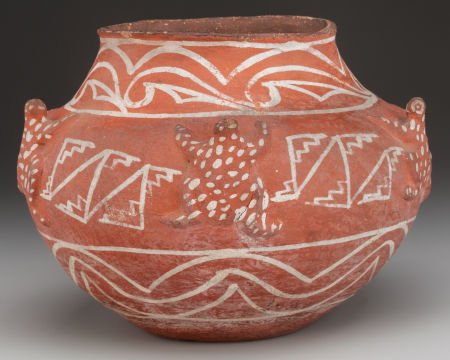 Native American, A Rare Historic Zuni White on Red Frog Effigy Jar, C. 1890, #796