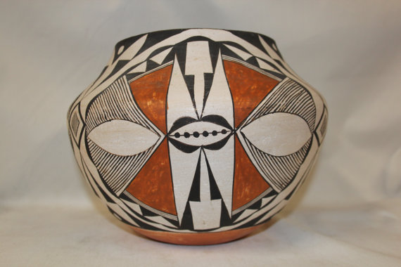 Vintage Pottery : Extraordinary Vintage Acoma Polychrome Pottery Olla by Grace Chino #268