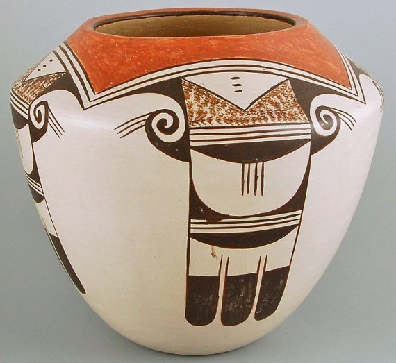 Hopi Pottery, Native American Hopi Pottery by Helen Naha, Feather Woman, Eagle Tail Pattern-#679