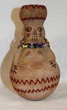 Native American Pottery, Maricopa Pottery Effigy Vase, by Theroline Bread, Ca 1980's