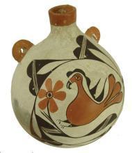 Canteen : Native Ameican Vintage Acoma Polychrome Pottery Canteen, ca 1950