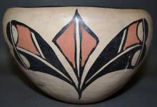 Native American Santo Domingo Poly Chrome Pottery Bowl With Floral Design. Ca 1940's-50's