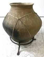 Tarahumara Indian Rawhide Bound Pottery Vessel, Ca, 1970's