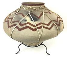 Tarahumara Indian Rawhide Bound Poly Chrome Pottery Vessel, Ca, 1970's