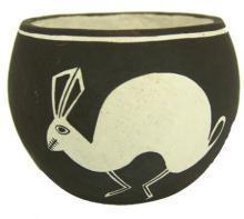 Pottery Bowl : Unique Reverse Design Vintage Acoma Rabbit Pottery Bowl by Emma Lewis