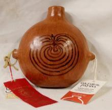 Award Winning, Native American Sally Havier, Tohono O'odham (Popago) Pottery I'itoi Design Canteen, Ca 1972