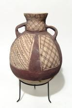 Pre-Columbian Vividly Painted Chancay Pottery Bottle, CA AD 900-1500