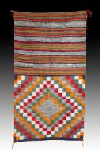 Native American, Vintage Navajo Double Saddle Blanket, Ca 1950's