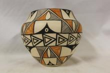 Acoma Pottery : Exceptional Vintage Acoma Polychrome Pottery Olla by Denise J. Valle