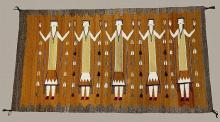 Hand Wovern Navajo Yei Rug in Gold and Gray #20