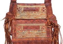 Vintage Moroccan Tooled Leather Shoulder Bag, with Beads, Fringe, Ca 1970