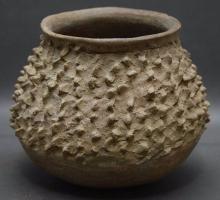 Pre Colombian Rare Casas Grandes Rough Corrugated Pottery Jar Prickly Pear Cactus Fruit Effigy, Ca AD 700-1660