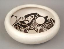 Rose Chino Garcia Acoma pottery bowl, inside decorated with fish and deer, bottom signed Rose Chino Garcia, Acoma, New Mexico