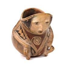 Reproduction Pre-Colombian Casas Grande Poly chrome pottery Human Effigy Vessel, New Mexico,