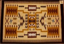 Native American Vintage Navajo Chinle Storm Pattern Weaving by Nancy Etsitty, Ca 1970's