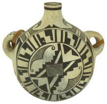 Vintage Pottery : Rare Globular Polychrome Vintage Acoma Pottery Canteen by Jessie Garcia