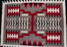 Native American, Navajo Storm Pattern Weaving, Ca 1980's,
