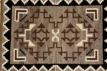 Native American, Navajo Vintage Hand Woven, Two Gray Hills Textile
