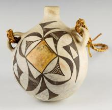 Native American Acoma Polychrome Pottery Canteen, CA 1930's