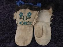 Brain tanned moose mittens with fur