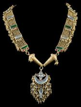Old Indian Gold Necklace with Crescent Shaped Medallion