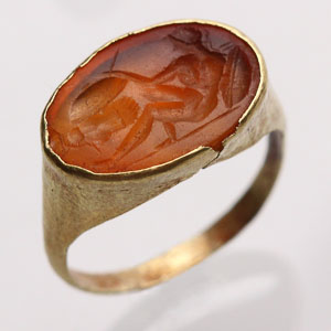 Carnelian Intaglio of a Reclining Warrior: NO RESERVE
