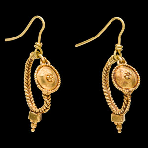 Imperial Roman gold shield style earrings mounted on removable modern gold earwires for wear