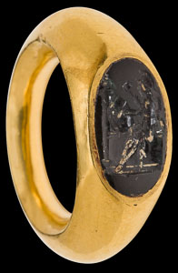 Republican-Graeco-Roman ring with rare obsidian intaglio of Athena