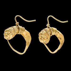 Hellenistic Greek gold lion's head earrings
